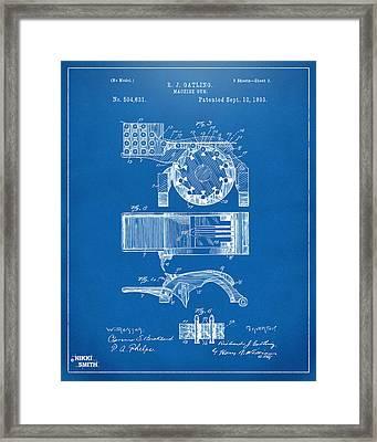 1893 Gatling Machine Gun Feed Patent Artwork - Blueprint Framed Print