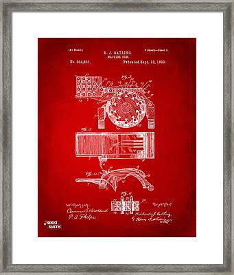 1893 Gatling Machine Gun Feed Patent Artwork - Red Framed Print by Nikki Marie Smith