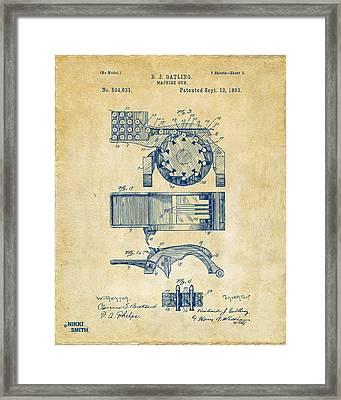 1893 Gatling Machine Gun Feed Patent Artwork - Vintage Framed Print