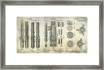 1893 Gatling Machine Gun Patent Drawing Framed Print