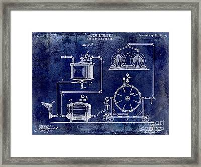 1893 Manufacture Of Beer Patent Drawing Blue Framed Print
