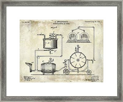 1893 Manufacture Of Beer Patent Drawing Framed Print by Jon Neidert