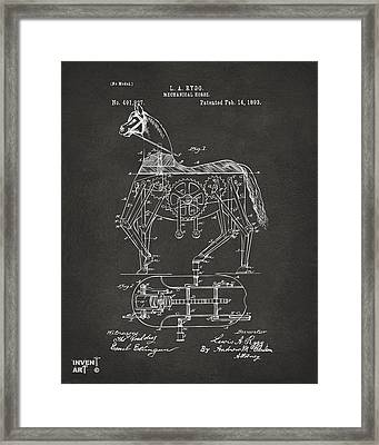 1893 Mechanical Horse Toy Patent Artwork Gray Framed Print