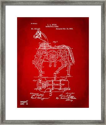 1893 Mechanical Horse Toy Patent Artwork Red Framed Print by Nikki Marie Smith