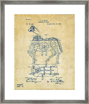 1893 Mechanical Horse Toy Patent Artwork Vintage Framed Print by Nikki Marie Smith
