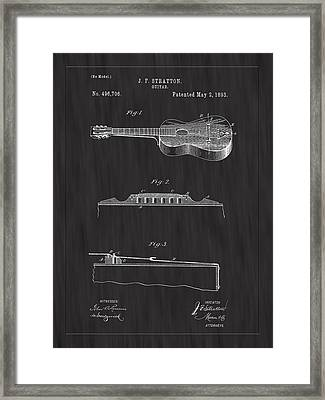 1893 Stratton Guitar Patent Art - Bk Framed Print by Barry Jones