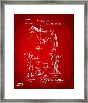 1893 Velocipede Horse-bike Patent Artwork Red Framed Print by Nikki Marie Smith