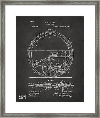 1894 Monocycle Patent Artwork Gray Framed Print