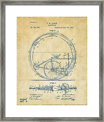 1894 Monocycle Patent Artwork Vintage Framed Print by Nikki Marie Smith