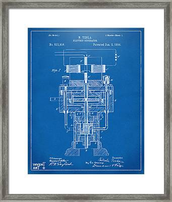 Framed Print featuring the drawing 1894 Tesla Electric Generator Patent Blueprint by Nikki Marie Smith