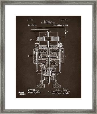 Framed Print featuring the drawing 1894 Tesla Electric Generator Patent Espresso by Nikki Marie Smith