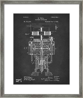 1894 Tesla Electric Generator Patent Gray Framed Print