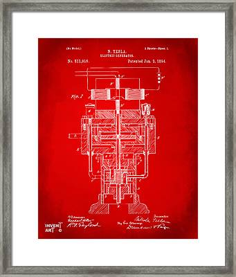 1894 Tesla Electric Generator Patent Red Framed Print