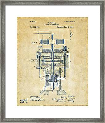 1894 Tesla Electric Generator Patent Vintage Framed Print by Nikki Marie Smith