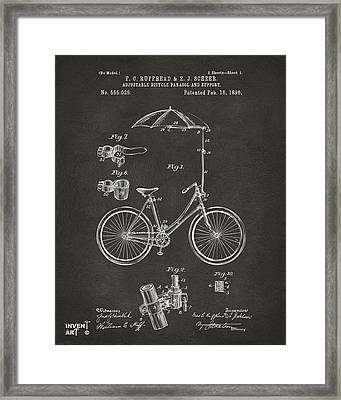 1896 Bicycle Parasol Patent Artwork Gray Framed Print