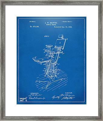 1896 Dental Chair Patent Blueprint Framed Print by Nikki Marie Smith