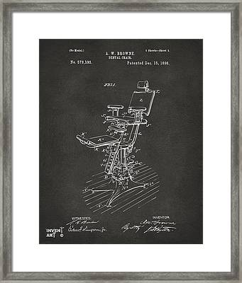 1896 Dental Chair Patent Gray Framed Print by Nikki Marie Smith