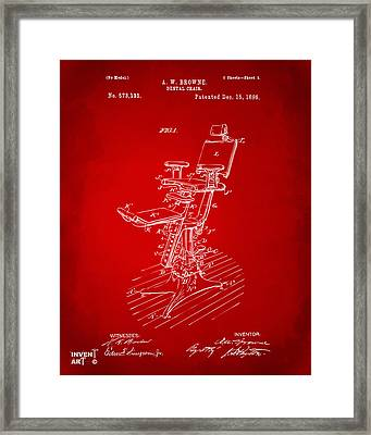 1896 Dental Chair Patent Red Framed Print by Nikki Marie Smith