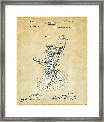 1896 Dental Chair Patent Vintage Framed Print by Nikki Marie Smith
