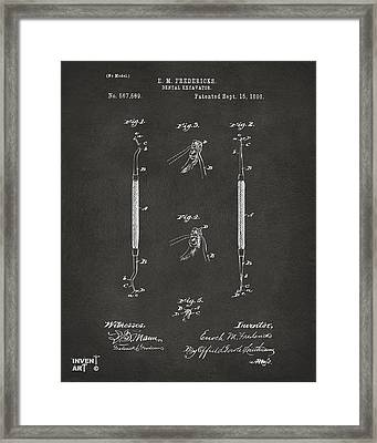 1896 Dental Excavator Patent Gray Framed Print