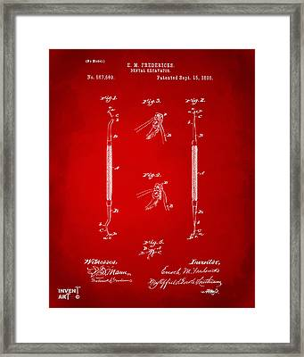 1896 Dental Excavator Patent Red Framed Print by Nikki Marie Smith