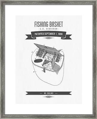 1896 Fishing Basket Patent Drawing Framed Print by Aged Pixel