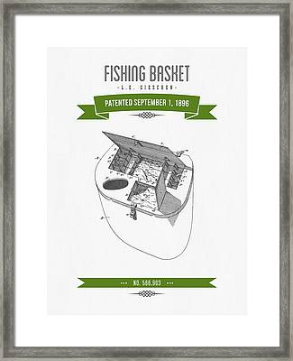 1896 Fishing Basket Patent Drawing - Green Framed Print by Aged Pixel