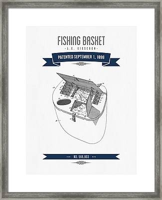 1896 Fishing Basket Patent Drawing - Navy Blue Framed Print by Aged Pixel