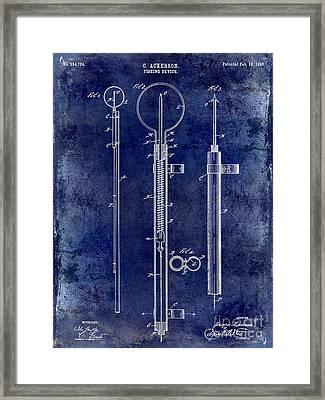1896 Fishing Device Patent Drawing Blue Framed Print by Jon Neidert
