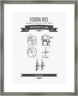 1896 Fishing Reel Patent Drawing Framed Print by Aged Pixel