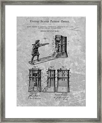 1896 Toy Bank Patent Charcoal Framed Print by Dan Sproul