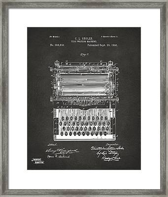 1896 Type Writing Machine Patent Artwork - Gray Framed Print