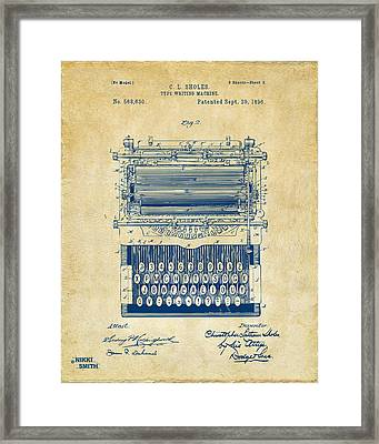 1896 Type Writing Machine Patent Artwork - Vintage Framed Print