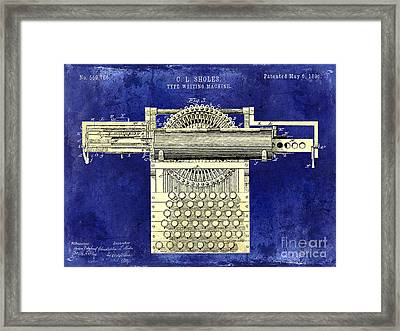 1896 Type Writing Machine Patent Two Tone Framed Print by Jon Neidert