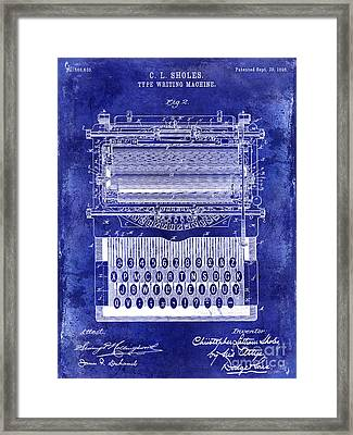 1896 Typewriting Machine Patent Blue Framed Print by Jon Neidert