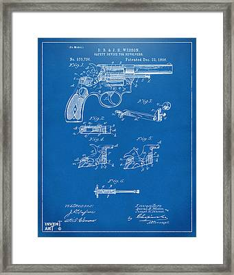 1896 Wesson Safety Device Revolver Patent Artwork - Blueprint Framed Print