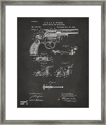 1896 Wesson Safety Device Revolver Patent Artwork - Gray Framed Print by Nikki Marie Smith