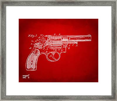 1896 Wesson Safety Device Revolver Patent Minimal - Red Framed Print