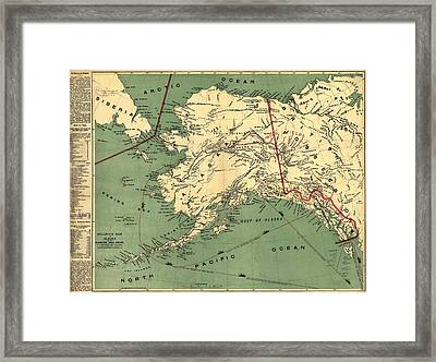 Framed Print featuring the photograph 1897 Map Of Alaska by Charles Beeler