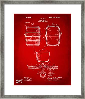 1898 Beer Keg Patent Artwork - Red Framed Print
