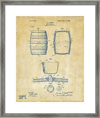 1898 Beer Keg Patent Artwork - Vintage Framed Print by Nikki Marie Smith
