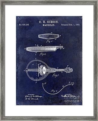 1898 Gibson Mandolin Patent Drawing Blue Framed Print