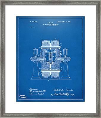 1898 Tesla Electric Circuit Patent Artwork - Blueprint Framed Print