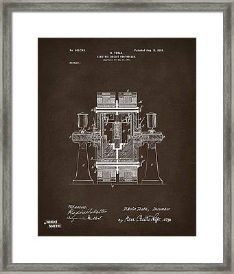 1898 Tesla Electric Circuit Patent Artwork Espresso Framed Print by Nikki Marie Smith