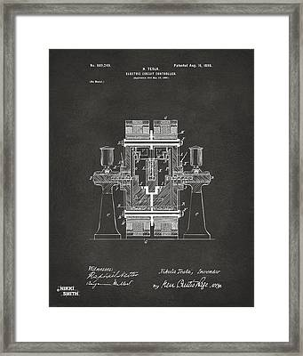 1898 Tesla Electric Circuit Patent Artwork - Gray Framed Print by Nikki Marie Smith