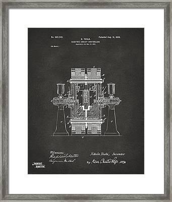 1898 Tesla Electric Circuit Patent Artwork - Gray Framed Print