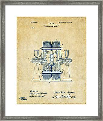 1898 Tesla Electric Circuit Patent Artwork - Vintage Framed Print by Nikki Marie Smith