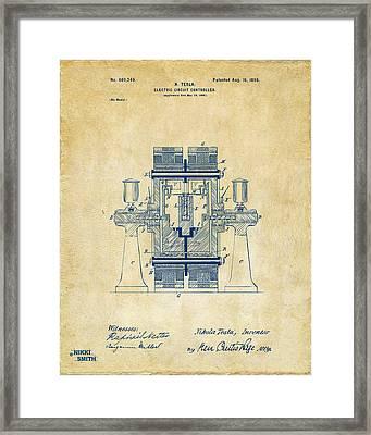1898 Tesla Electric Circuit Patent Artwork - Vintage Framed Print