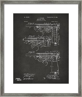 1898 Wesson Magazine Pistol Patent Artwork 2 - Gray Framed Print