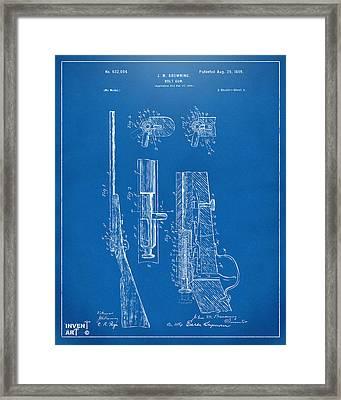 1899 Browning Bolt Gun Patent Blueprint Framed Print
